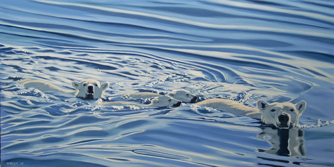 Polar Bear Painting by Cherie Sibley
